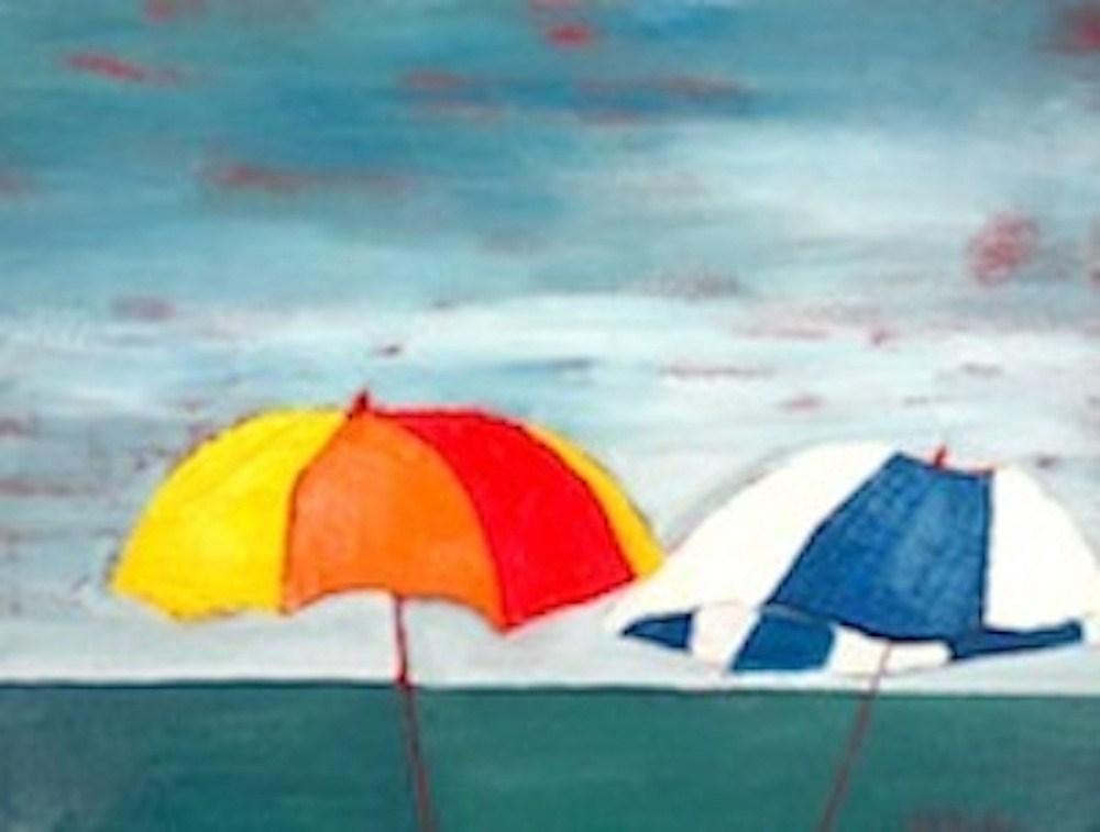 """""""Abstract Umbrella Pals"""" original fine art by Janet Bludau"""