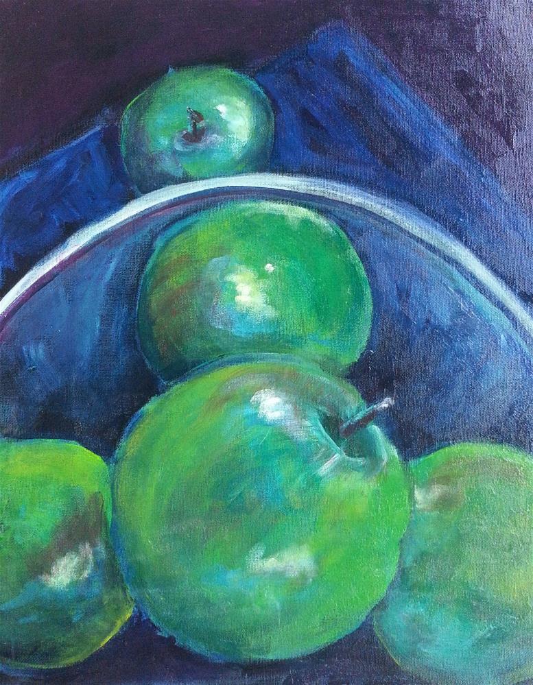 """Green Apples in a Bowl"" original fine art by Phyllisha Hamrick"