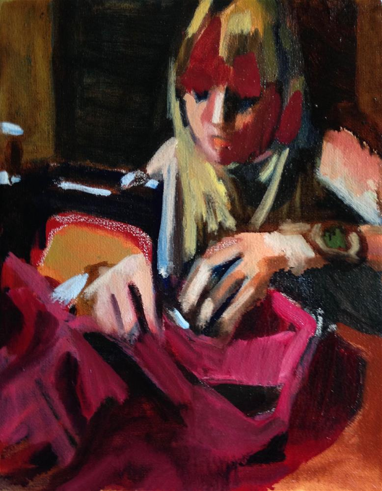 """""""Sewing Red"""" original fine art by Pamela Hoffmeister"""