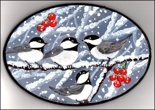 """Snow and Chicadees"" original fine art by Patricia Ann Rizzo"