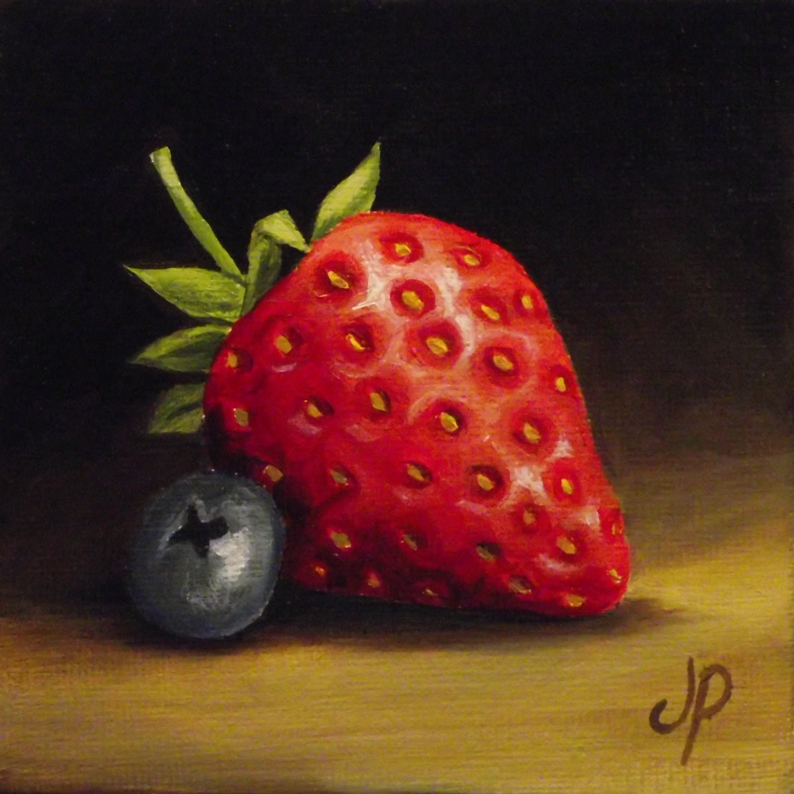"""Strawberry & Blueberry Video"" original fine art by Jane Palmer"