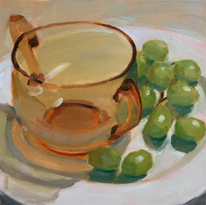 """Amber Bowl and Grapes"" original fine art by Robin Rosenthal"