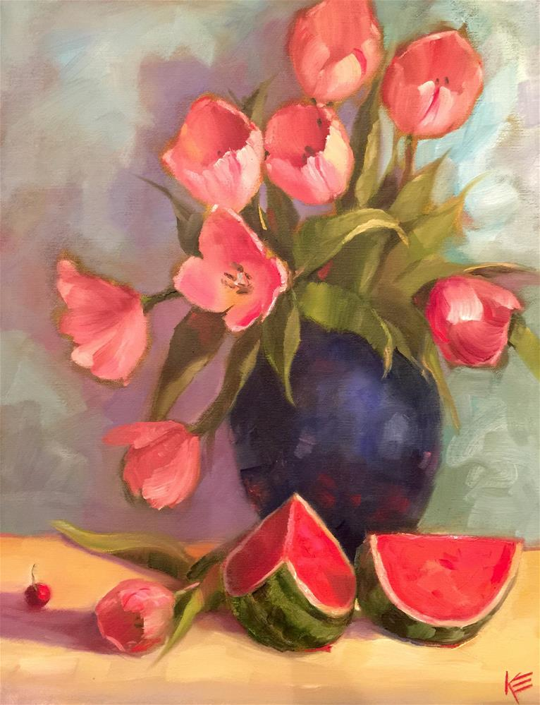 """Tulips & Watermelon SALE"" original fine art by Krista Eaton"