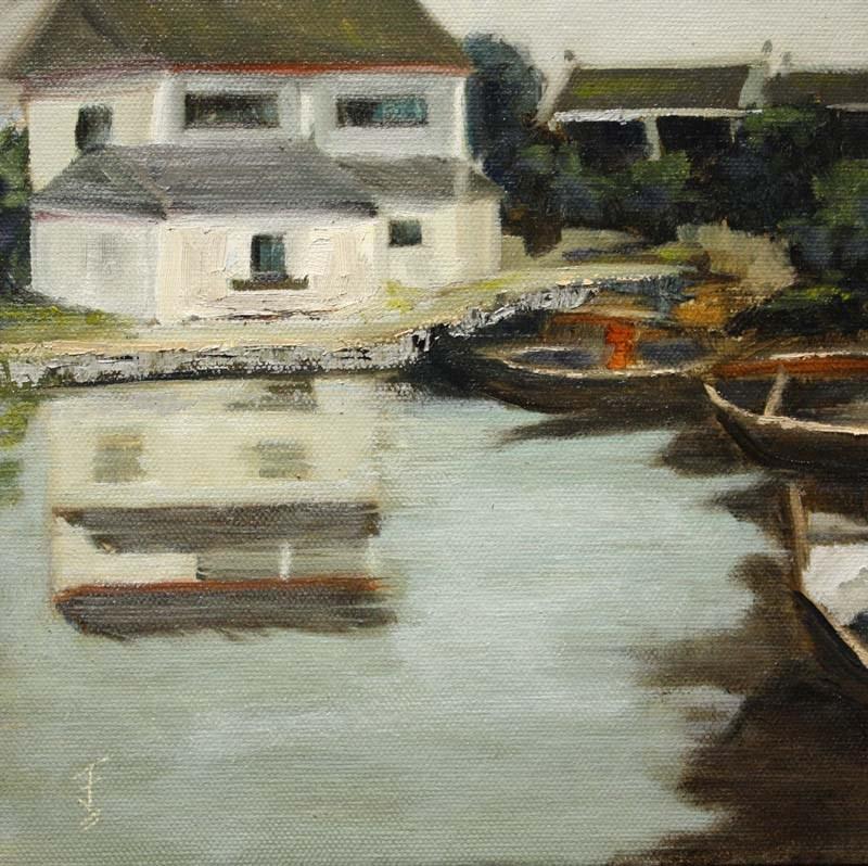 """Fishing Village"" original fine art by Jane Frederick"