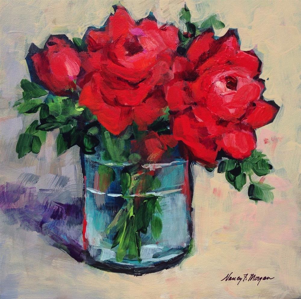 """Real Red Roses"" original fine art by Nancy F. Morgan"