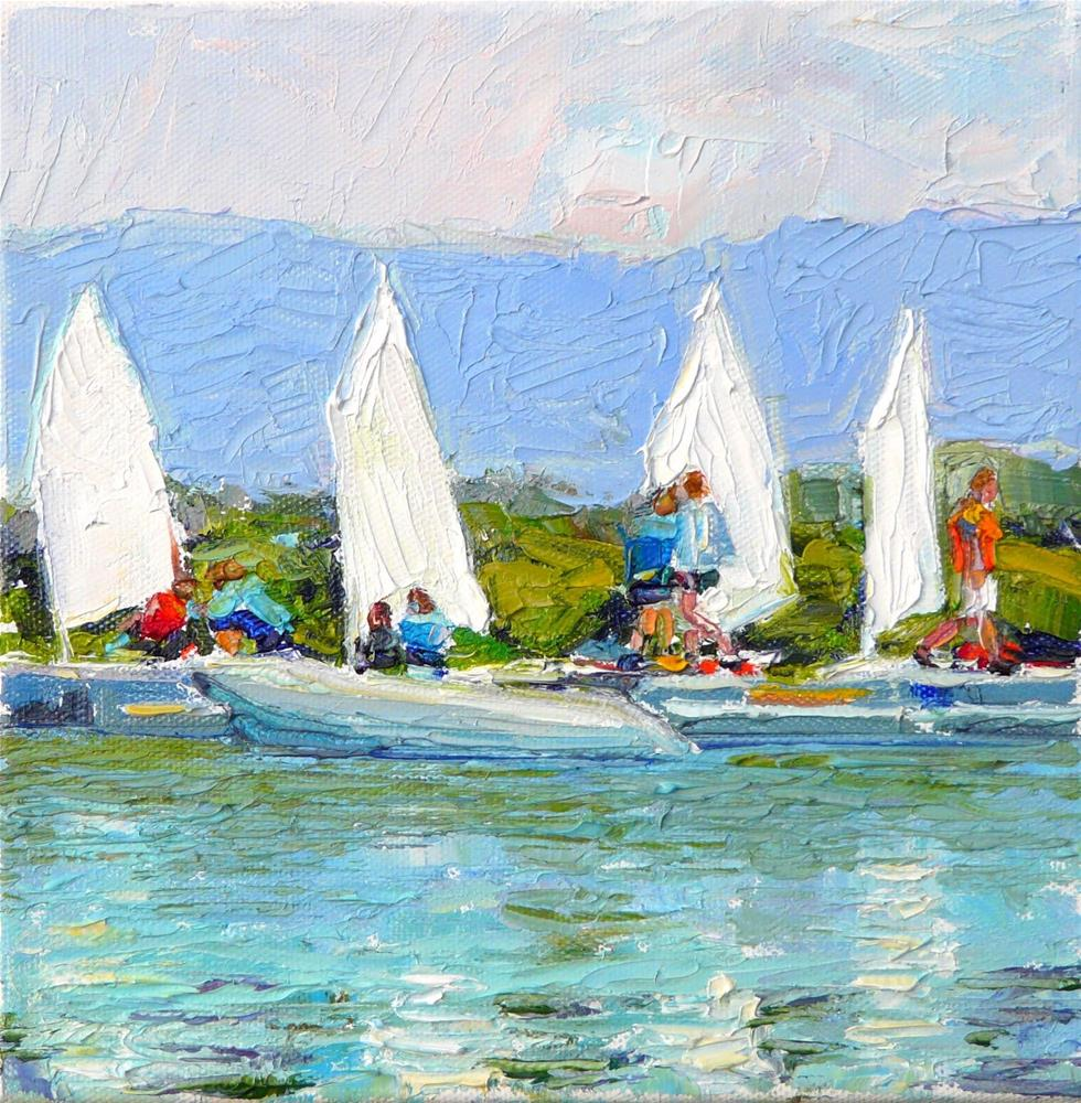 """Sail Class,seascape,oil on canvas,8x8,price$250"" original fine art by Joy Olney"