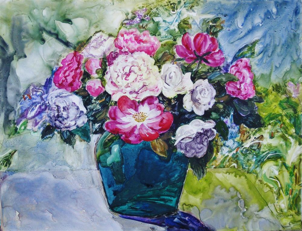 """Peony Bouquet"" original fine art by Priscilla Bohlen"