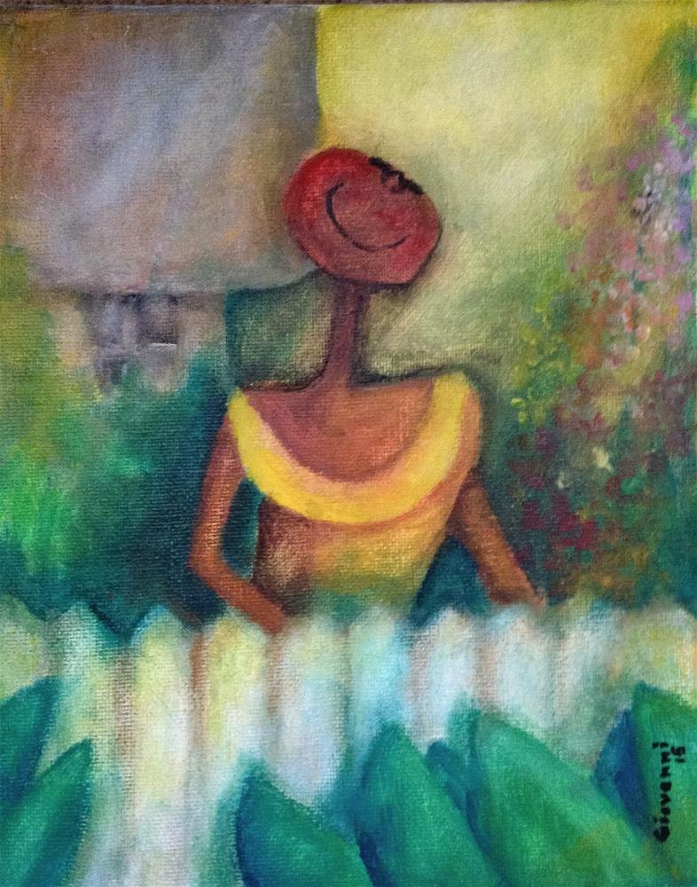 """""""Women at the garden (by the fence)"""" original fine art by Giovanni Antunez"""