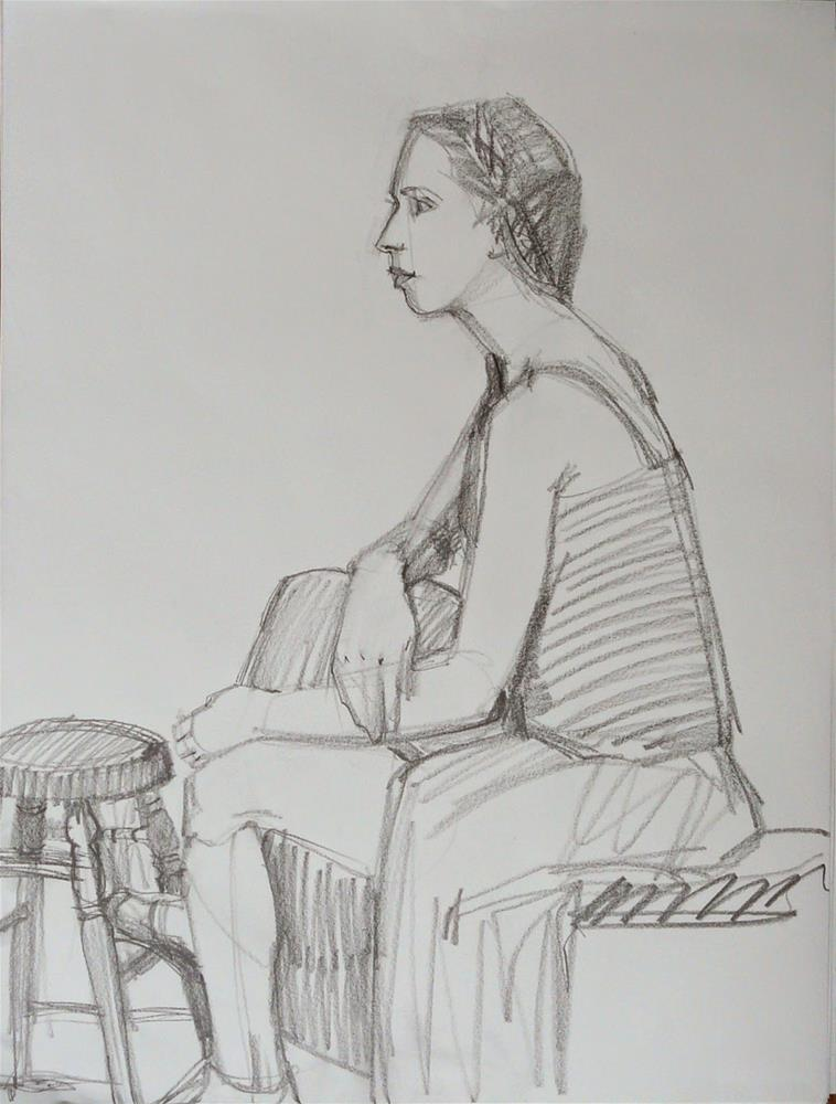 """Lovely Cara.figure,graphite pencil on paper,24x18,Price$200"" original fine art by Joy Olney"