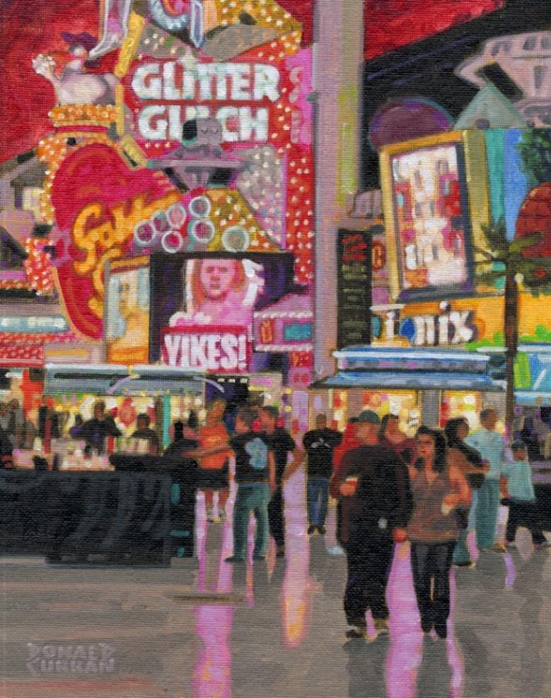 """Las Vegas Lights"" original fine art by Donald Curran"