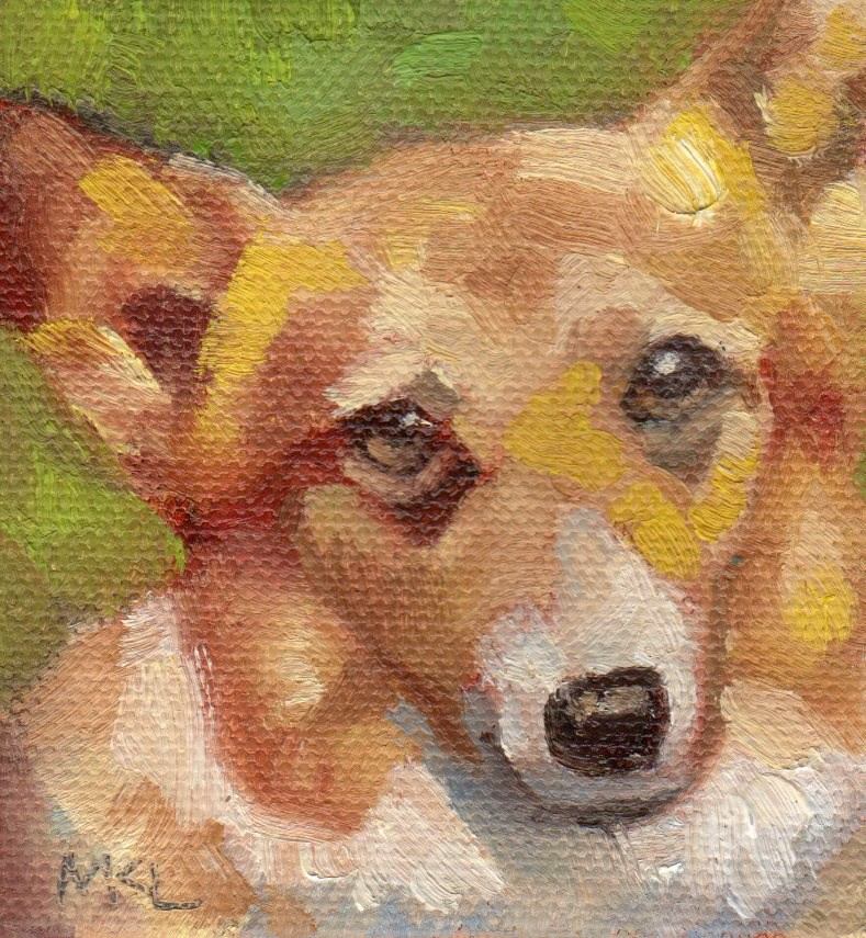 """Bookstore Greeter"" original fine art by Marlene Lee"