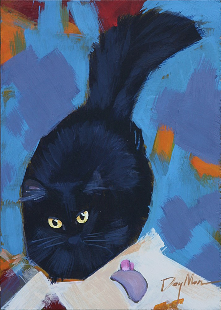"""""""Kitty with Mouse Toy"""" original fine art by Mike Daymon"""