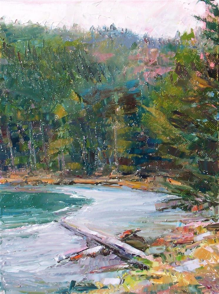 """Beachwood,landscape,oil on canvas,12x9.price$500"" original fine art by Joy Olney"