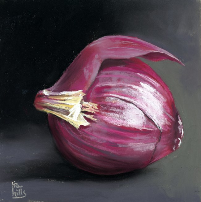 """Red Onion and time lapse painting video"" original fine art by Ria Hills"