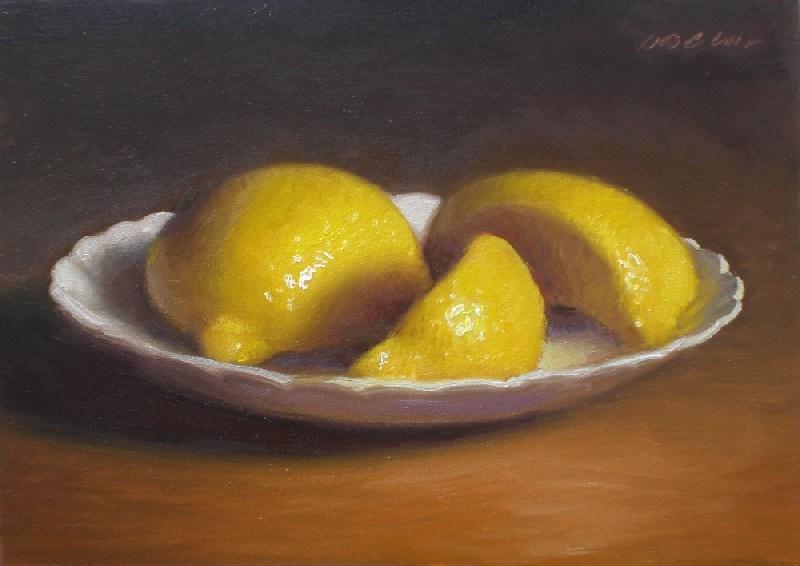 """Cut Lemon on Plate"" original fine art by Debra Becks Cooper"