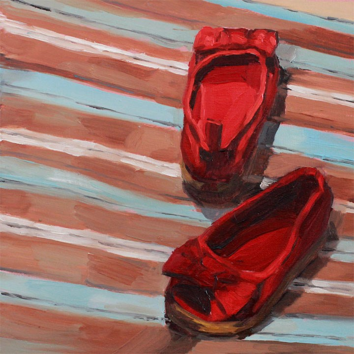 """""""Red Slip-Ons"""" original fine art by Nealy May Riley"""