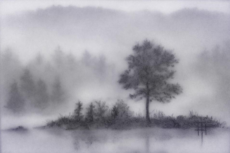 """""""Misty Isle"""" original fine art by Terri Heinrichs"""