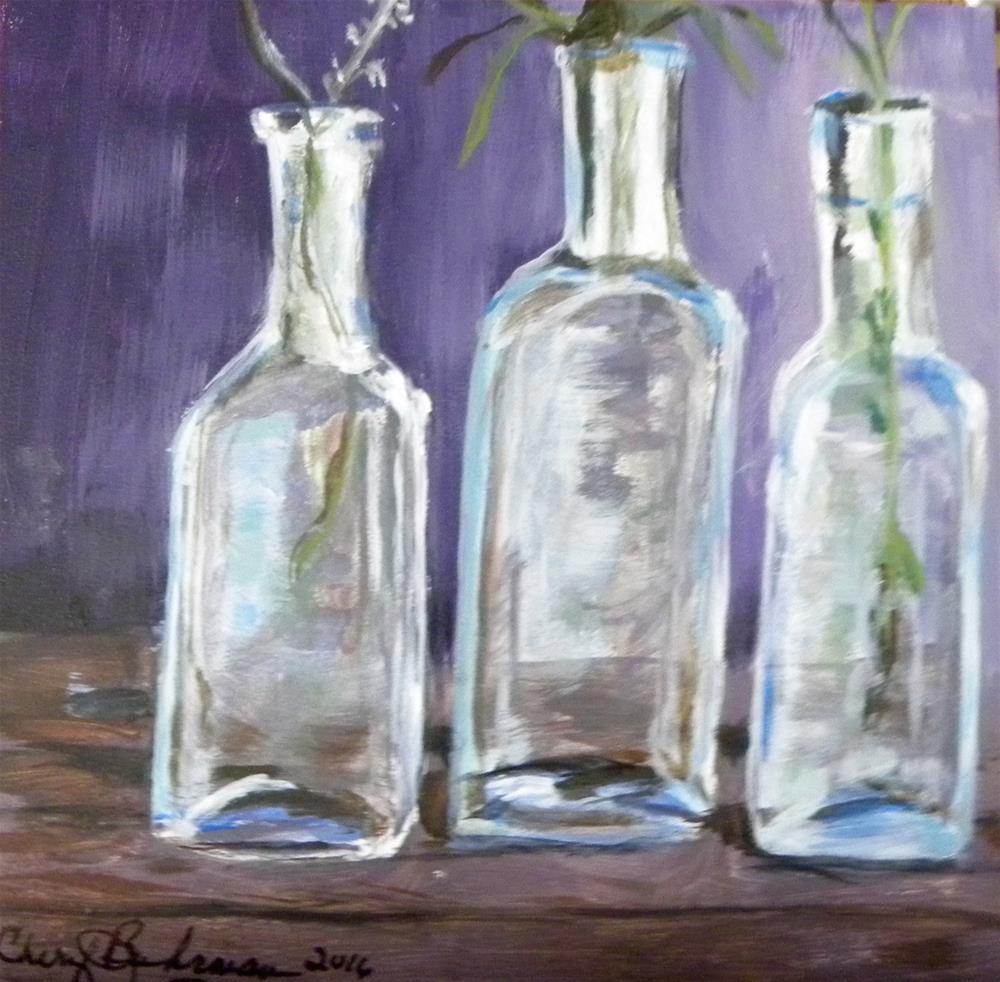 """Vintage Bottles"" original fine art by cheryl buhrman"