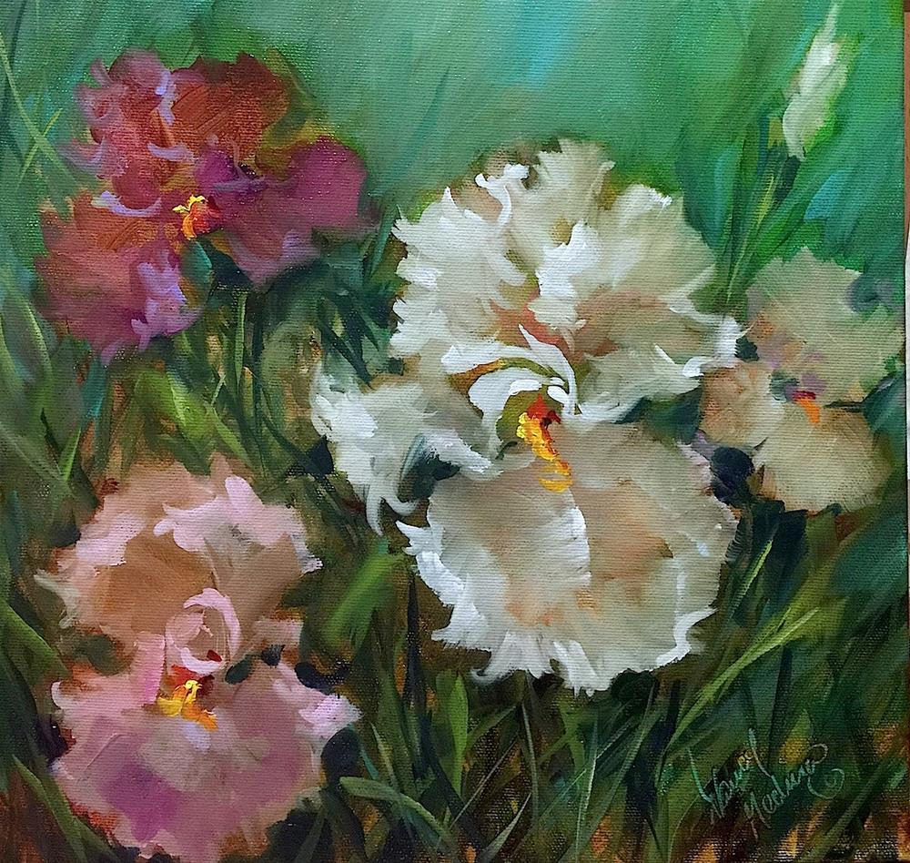 """Last Dance Iris Garden"" original fine art by Nancy Medina"