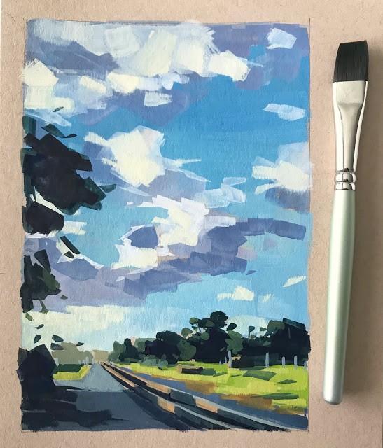"""Bluffs with Tracks and Green - gouache"" original fine art by Sharon Schock"