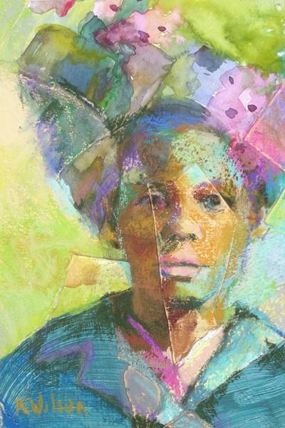 """""""Blue Up Do"""" original fine art by Katie Wilson"""