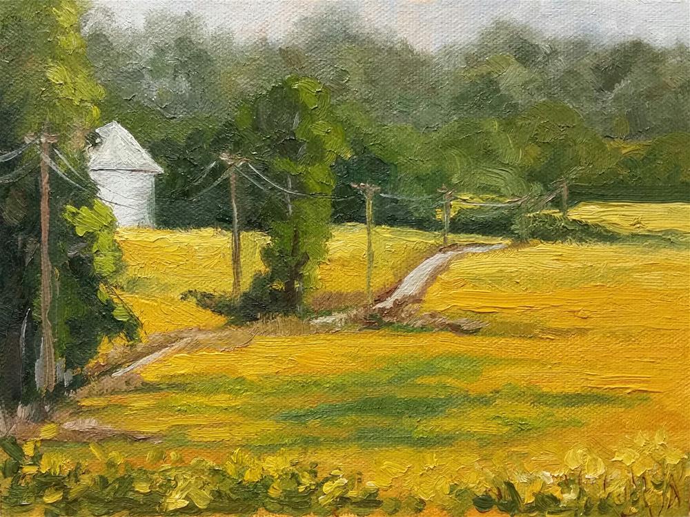 """Soybean fields-en plein air"" original fine art by Veronica Brown"