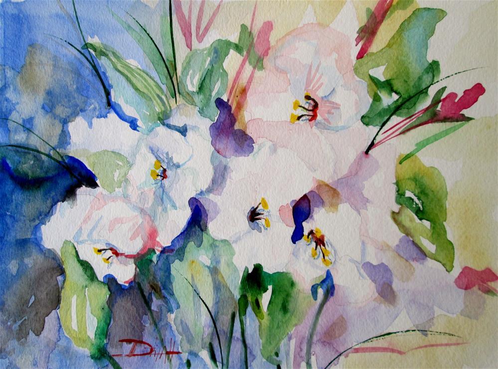 """White Flowers"" original fine art by Delilah Smith"