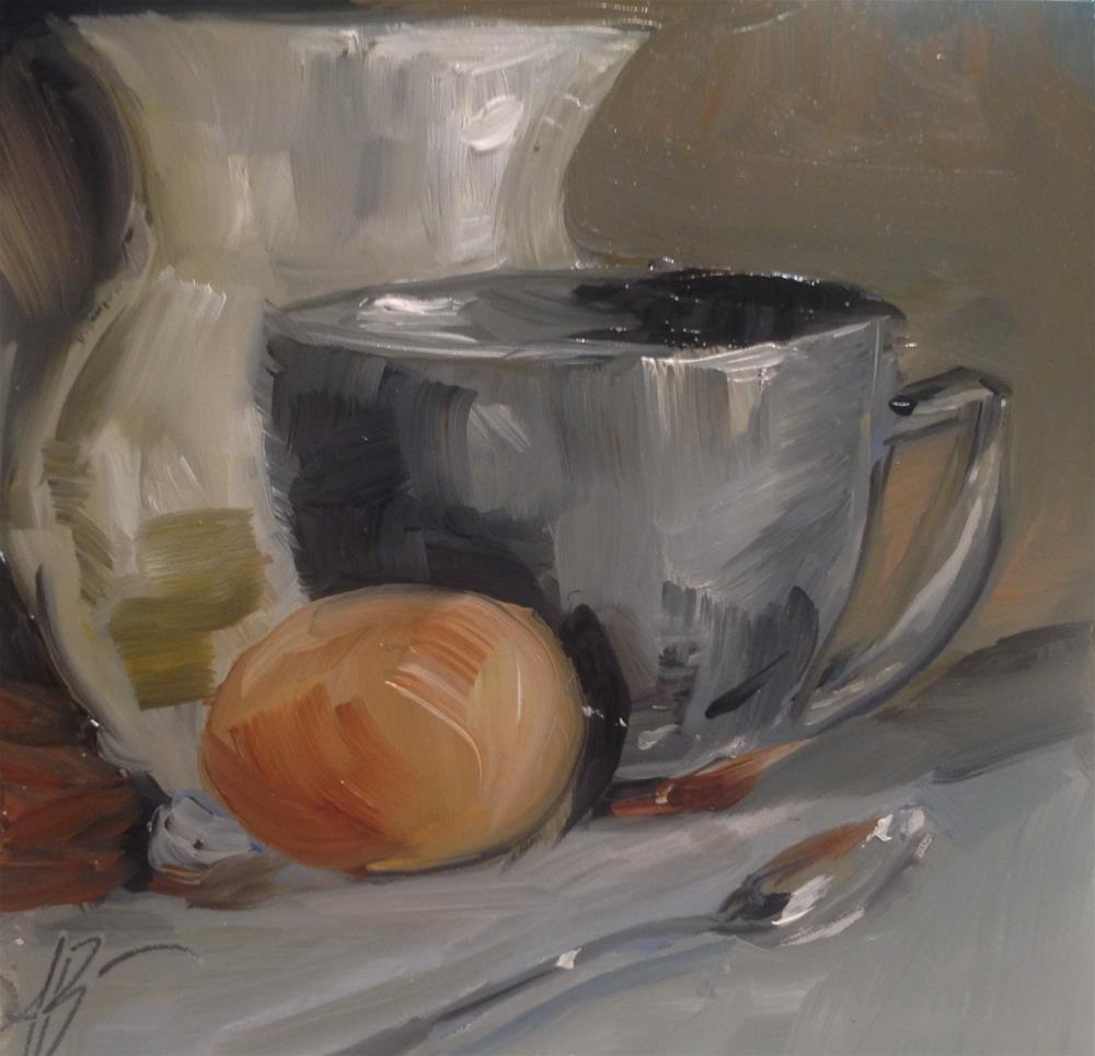 """""""Grays with Brown egg"""" original fine art by Annette Balesteri"""