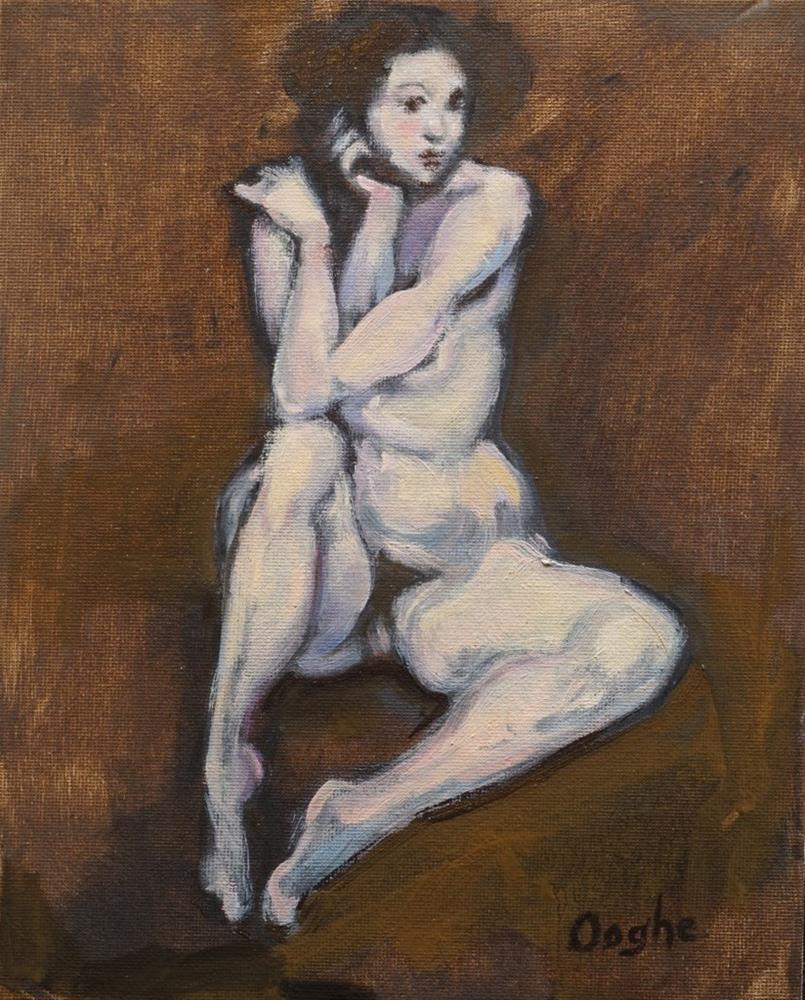"""Nude on Brown"" original fine art by Angela Ooghe"