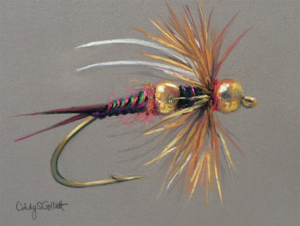 """Fly 28 -  Double Bead Nymph"" original fine art by Cindy Gillett"