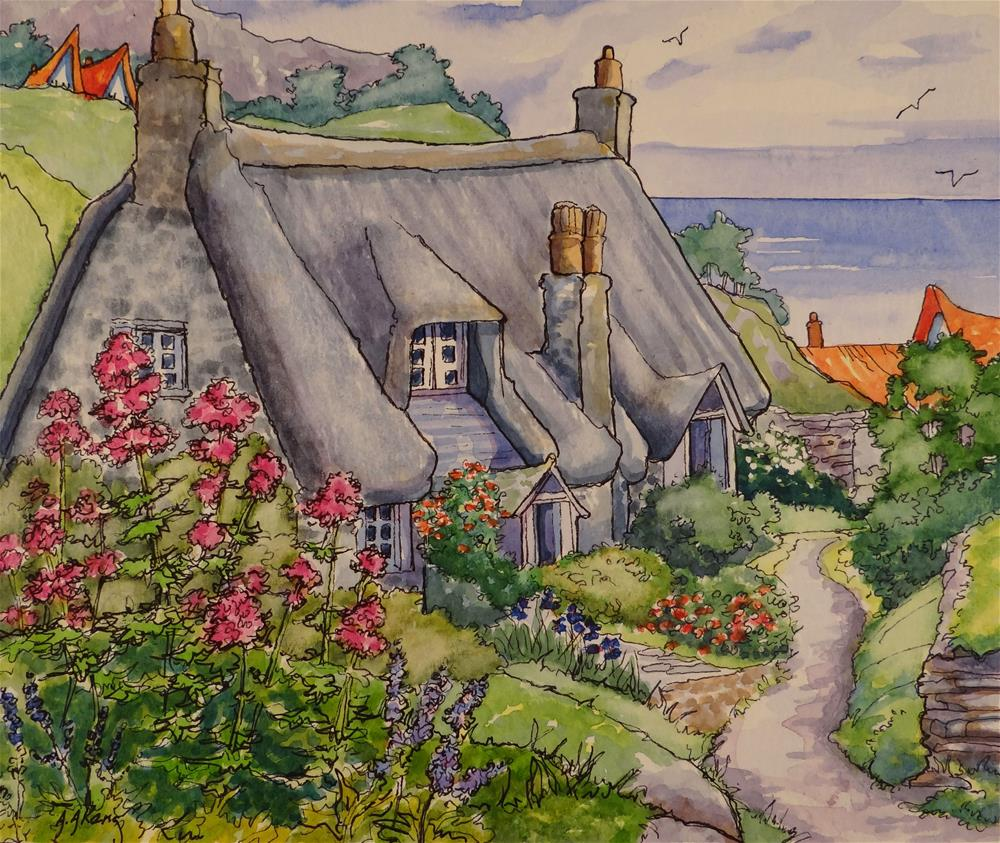"""Cornwall by the Sea Storybook Cottage Series"" original fine art by Alida Akers"