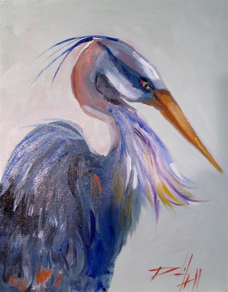 """Blue Heron No.6"" original fine art by Delilah Smith"