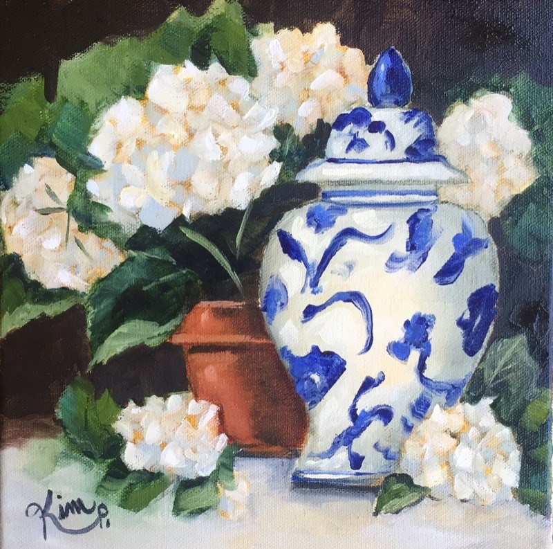 """""""Blue and White Ginger Jar with Potted Hydrangeas"""" original fine art by Kim Peterson"""
