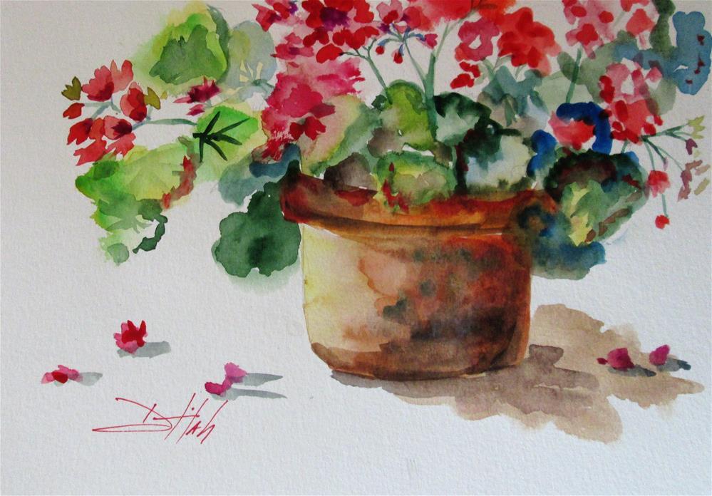 """Pot of Geraniums"" original fine art by Delilah Smith"