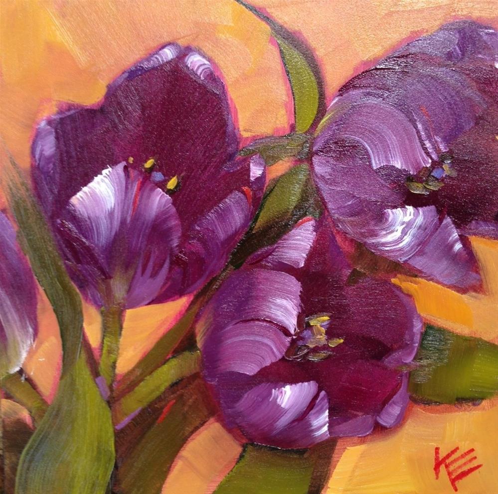 """Purple  on Orange"" original fine art by Krista Eaton"