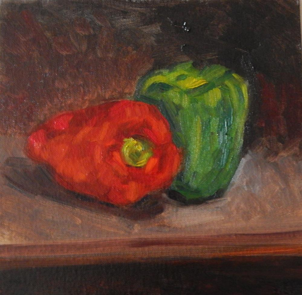 """Two Peppers"" original fine art by Megan Schembre"