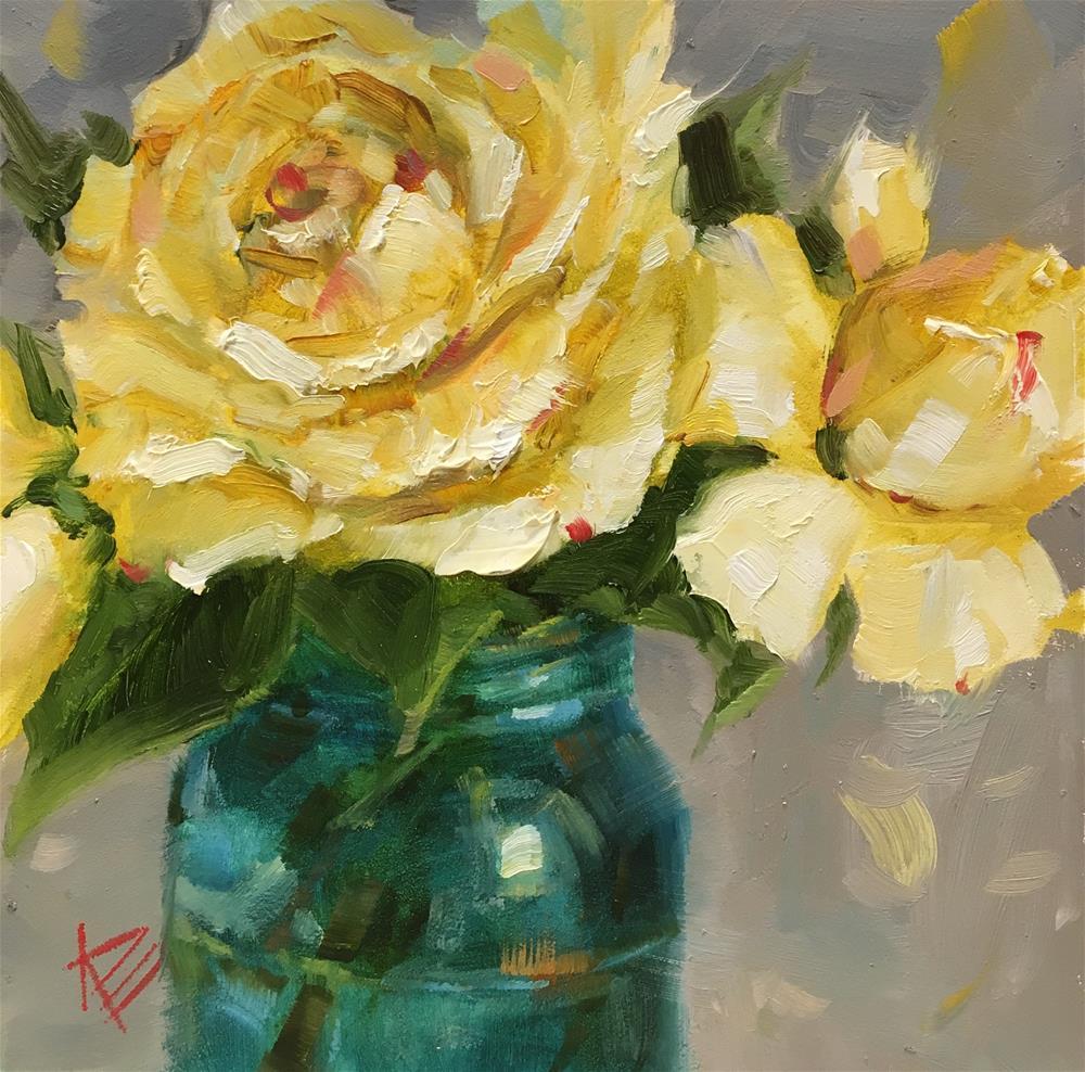 """Yellow Beauties in Blue jar"" original fine art by Krista Eaton"