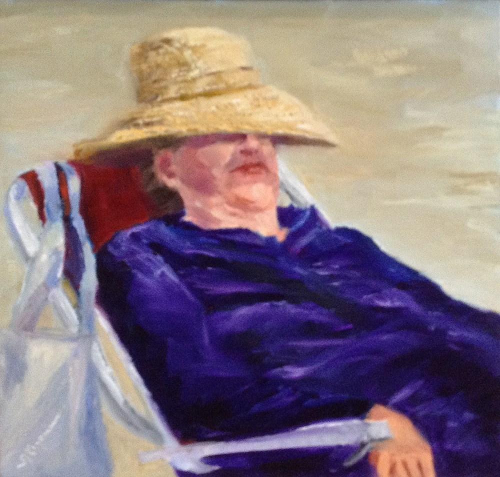 """Beach Woman in Her Thanksgiving Bonnet"" original fine art by Shelley Koopmann"