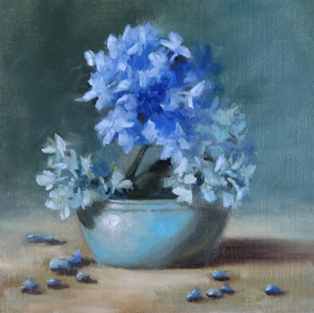 """""""Hydrangea Blues"""" original fine art by Pat Fiorello"""