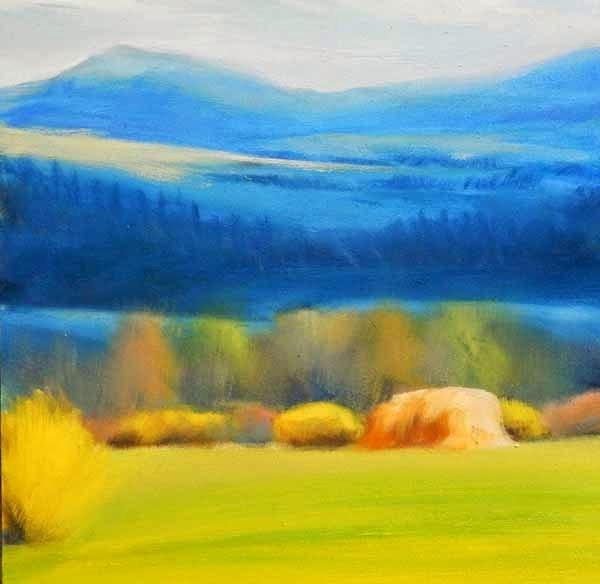 """Spring Hay, Spring Blooms"" original fine art by Carolyn Caldwell"