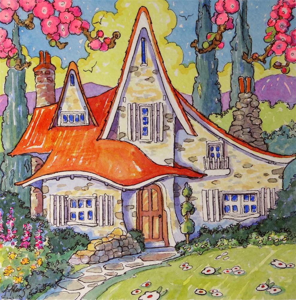 """San Bernadino Storybook Bungalow Storybook Cottage Series"" original fine art by Alida Akers"
