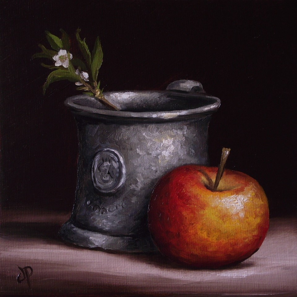"""""""Apple with Pewter and Blackthorn"""" original fine art by Jane Palmer"""