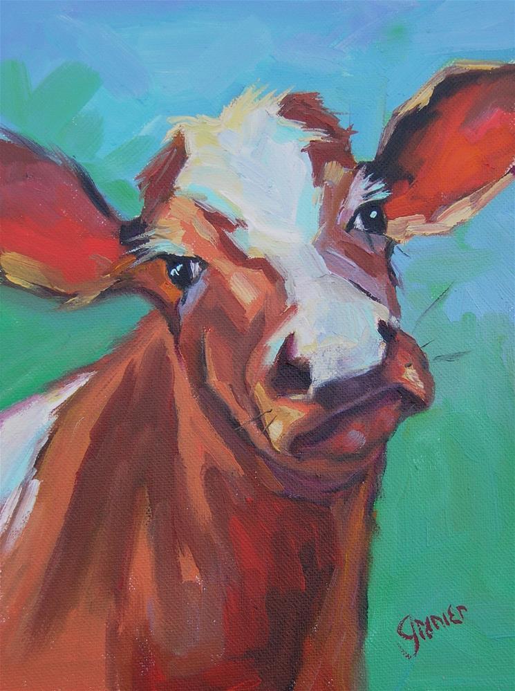 """Original Oil Brown and White Cow signed Jean Grenier"" original fine art by jean grenier"