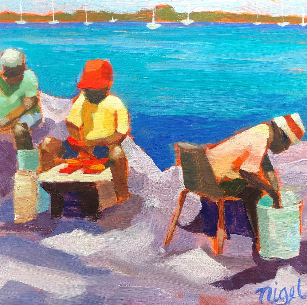 """Cleaning today's catch"" original fine art by Nigel Williams"