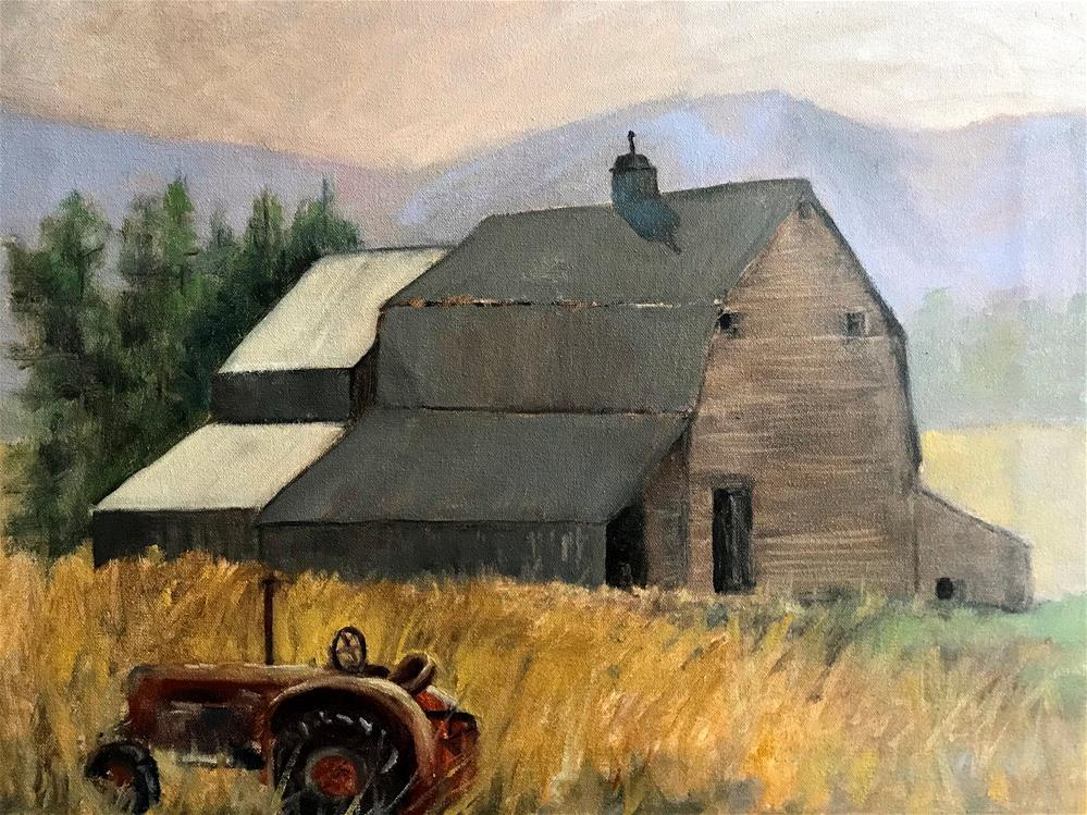 """tractor in the high grass"" original fine art by Betty Argiros"