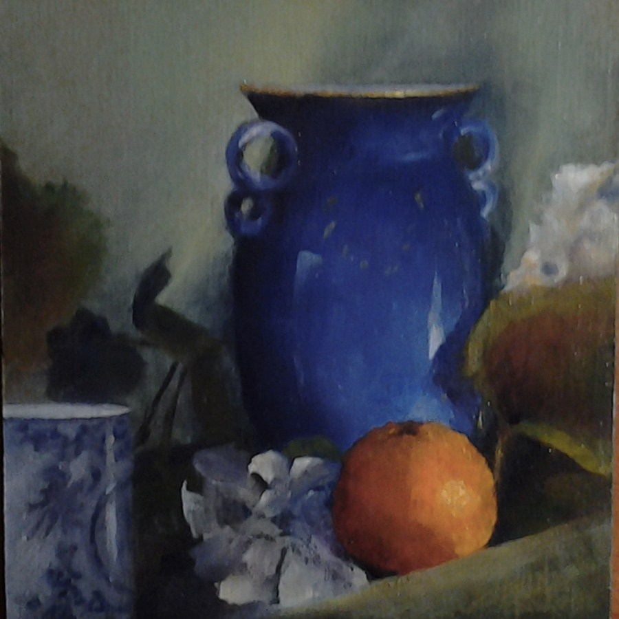 """""""Blue Glass Festival"""" original fine art by A.K. Simon"""