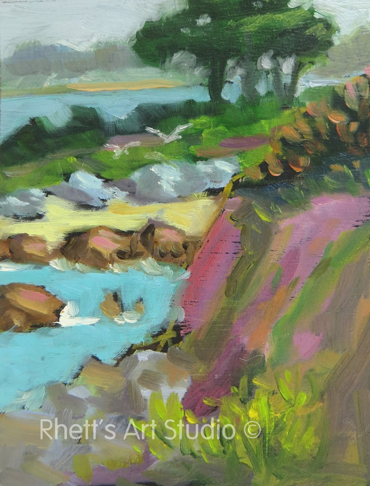 """Ice Plant in Pacific Grove - ACEO"" original fine art by Rhett Regina Owings"