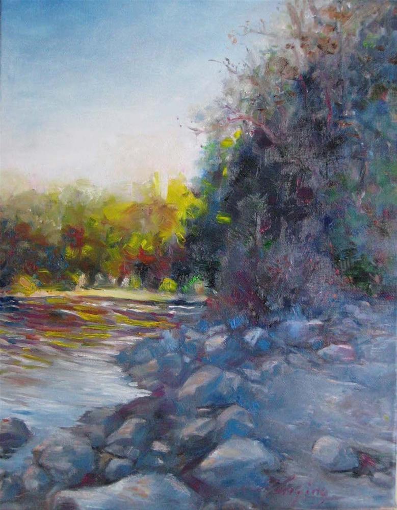 """Afternoon.lake"" original fine art by Wenqing Xu"