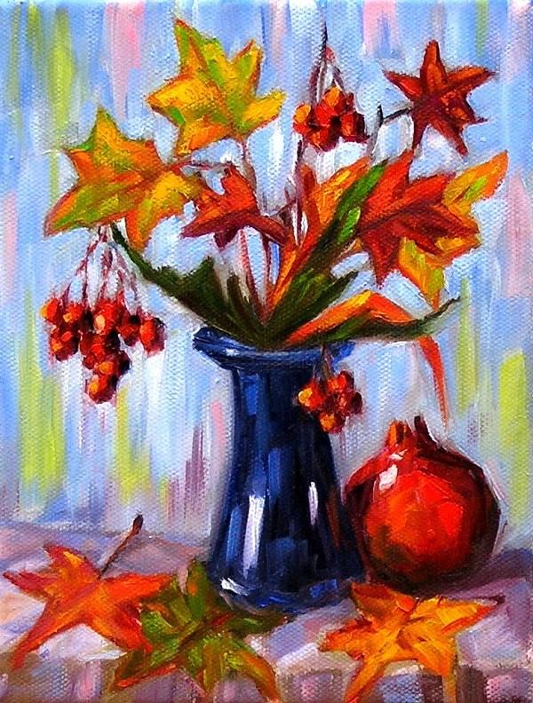 """Still life with red berries"" original fine art by Irina Beskina"