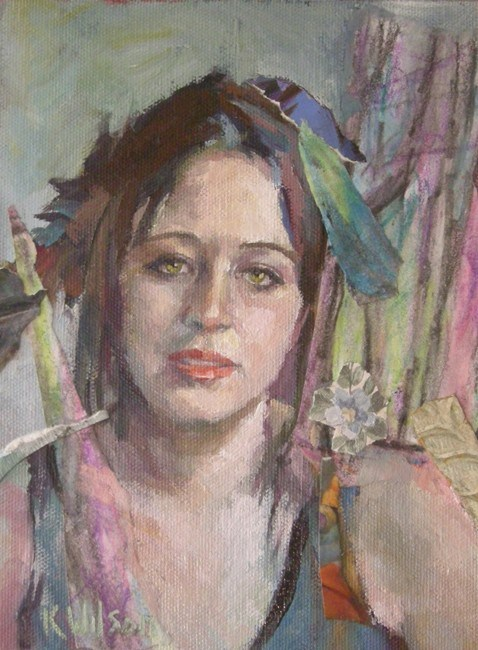 """Feathers in Hair"" original fine art by Katie Wilson"